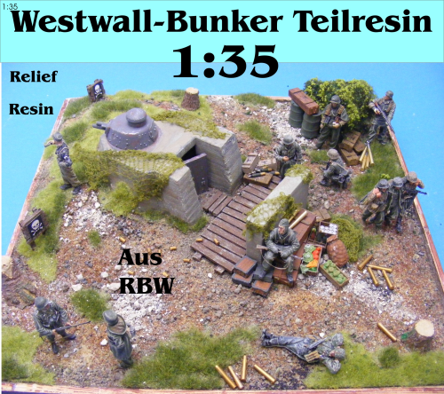 Westwall-Bunker m.Panzerturm Resin