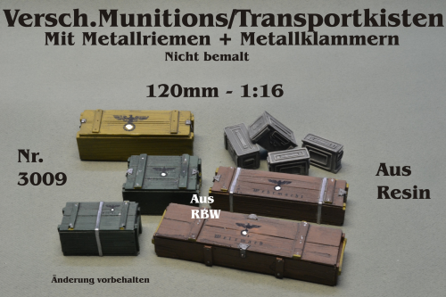 Versch.Munitions/Transportkisten 1:16 für 120mm Figuren Resin