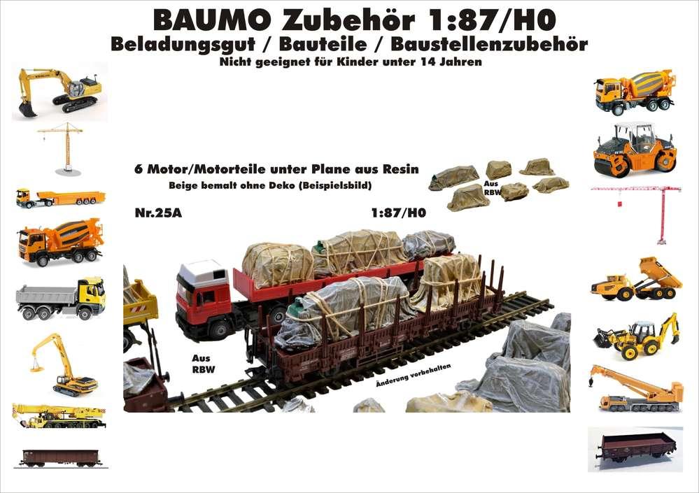 Baumo Zubehör 6 Motor/Motorteile unter Plane 1:87/H0 Resin f ...